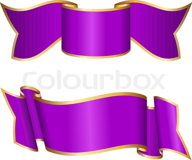 Purple ribbon collection Stock Vector Colourbox