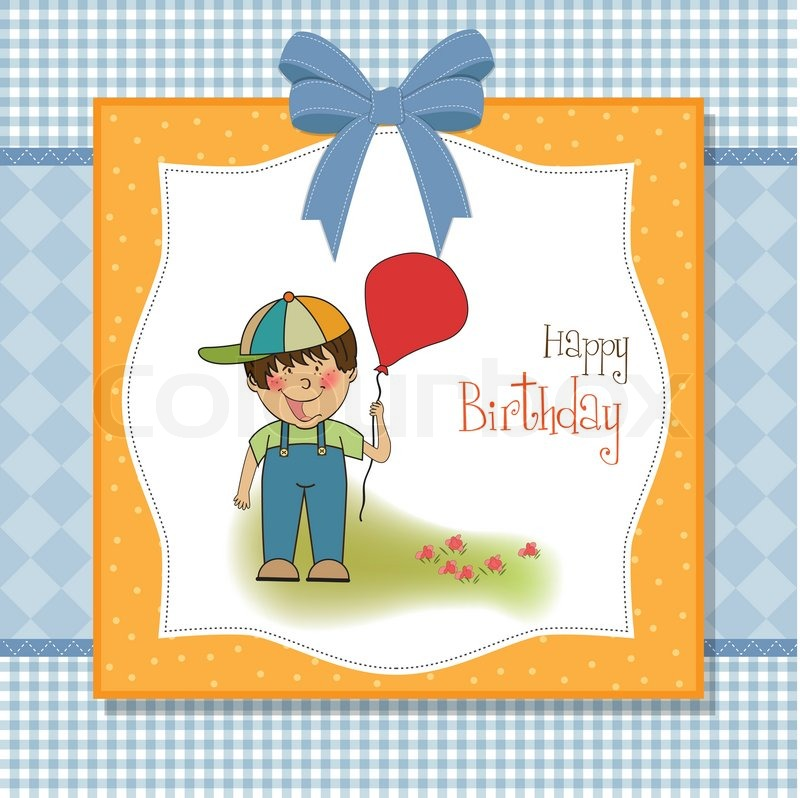 Birthday greeting card with little boy Stock Vector Colourbox