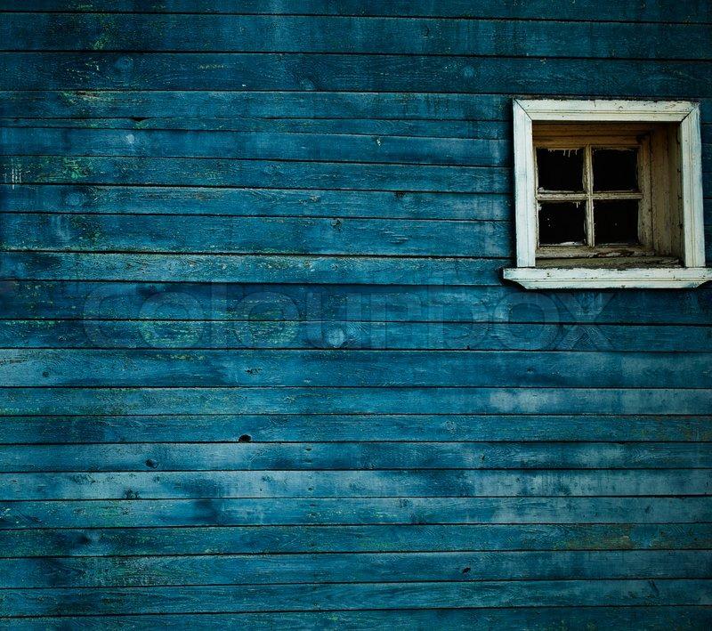 3d Wood Effect Wallpaper Blue Wooden Wall Window Stock Photo Colourbox