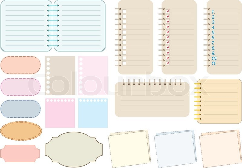 Scrapbook elements Paper and notebooks Stock Vector Colourbox - notepad paper template