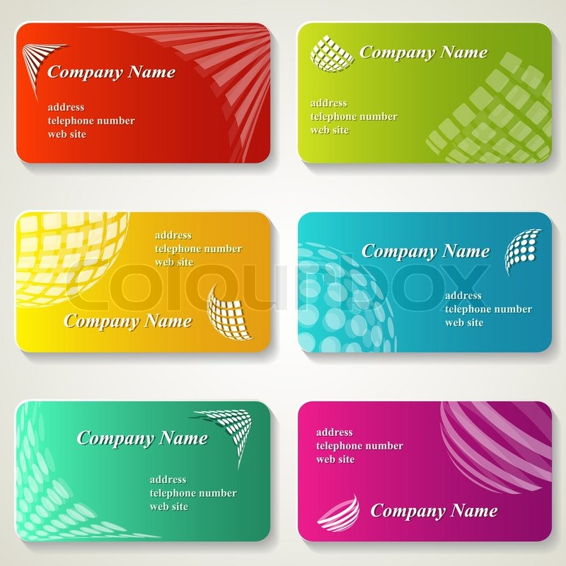 A set of business cards with logos Stock Vector Colourbox