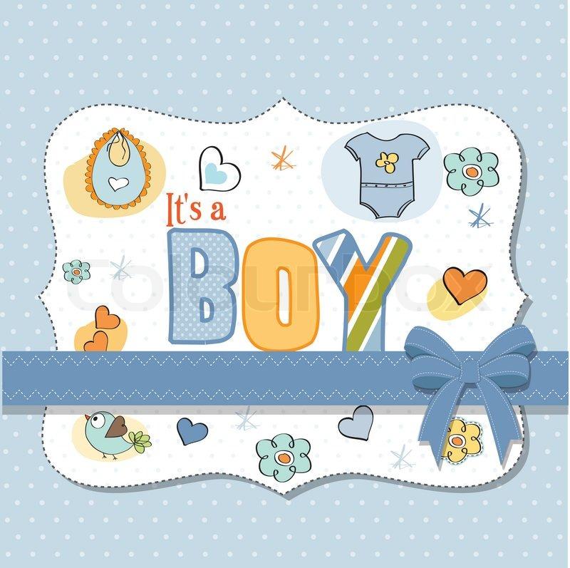 Baby boy shower card Stock Vector Colourbox
