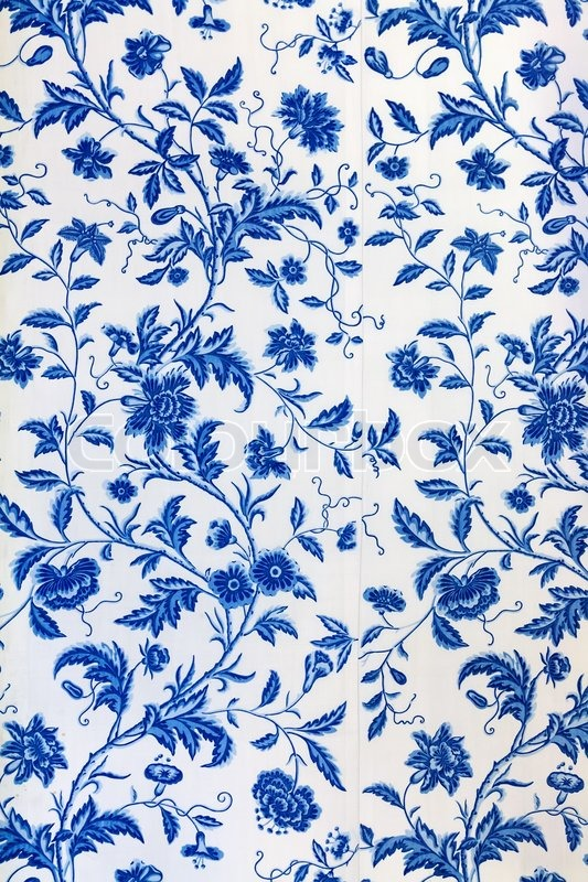 Download Wallpaper Hd Untuk Pc Blue Floral Pattern On The Wallpaper Stock Photo Colourbox