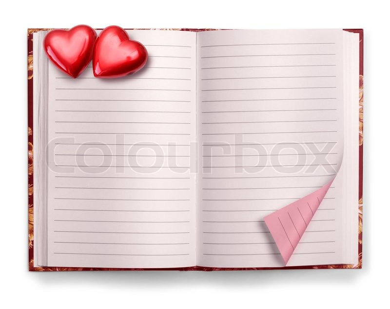 Open Valentine pink blank diary isolated on white background Stock - blank diary page