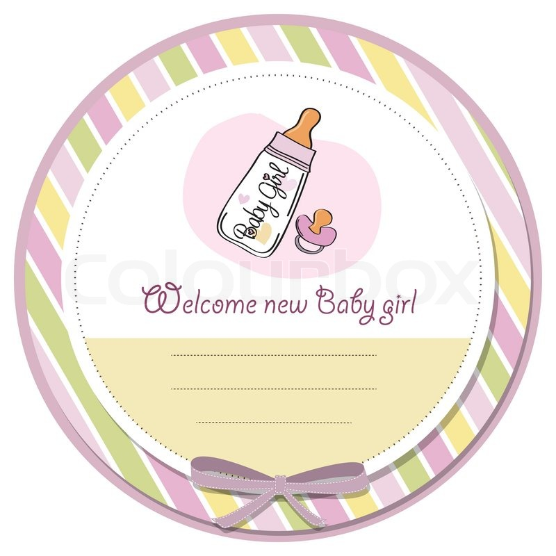 New baby girl announcement card Stock Vector Colourbox