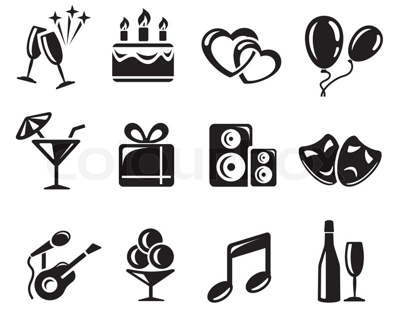 Party Icon Set Stock Vector Colourbox