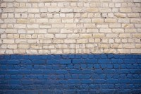 White and blue brick wall