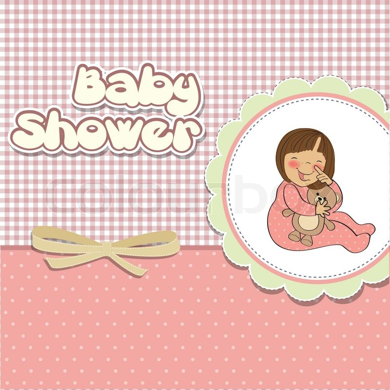 New baby girl announcement card with Stock Vector Colourbox