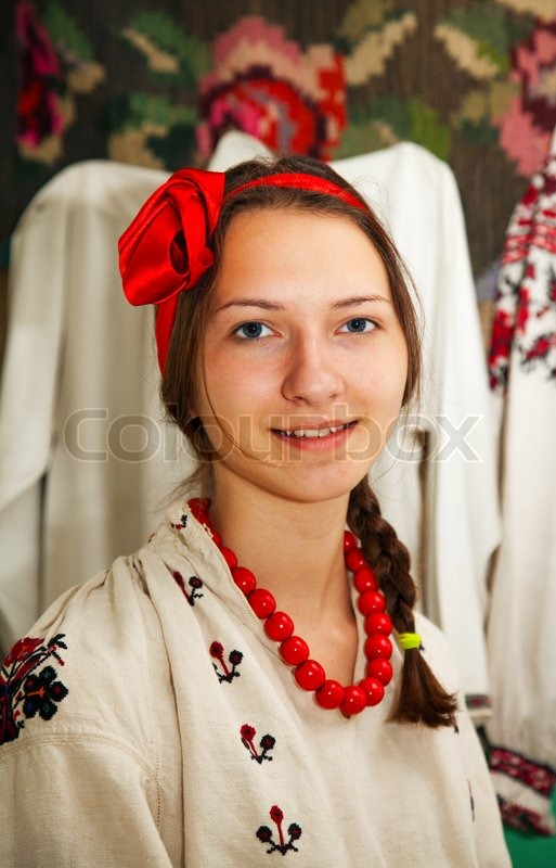 Smiley Girl Wallpaper Teen Girl Wearing Ukrainian Costume Stock Photo Colourbox