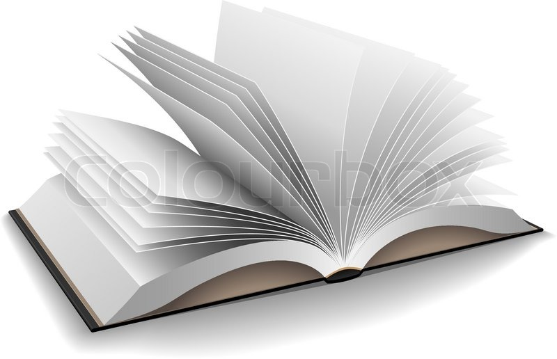 Vector illustration of opened book with hard black cover isolated on - opened book