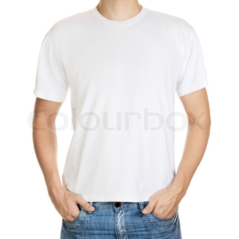 White t-shirt on a young man template Stock Photo Colourbox