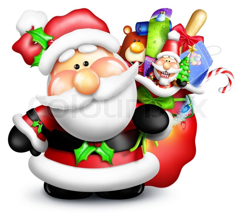 Modern Girl Wallpaper Free Download Cartoon Santa Claus With Gift Bag Stock Photo Colourbox