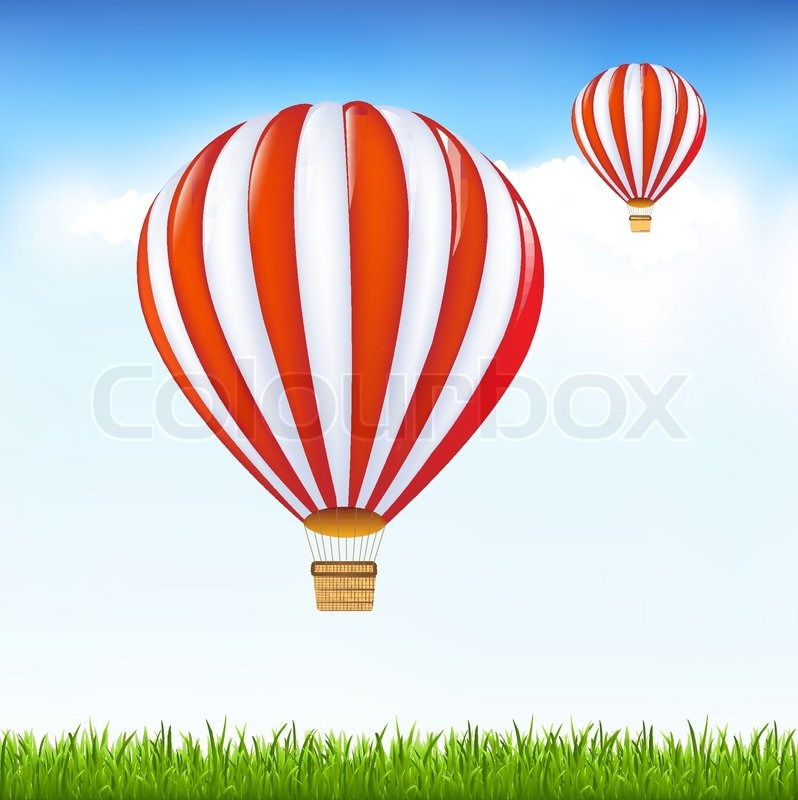 Hot Air Balloons Floating In Sky Stock Vector Colourbox