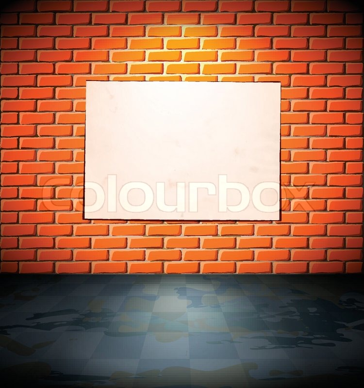 Blank poster on the brick wall Stock Vector Colourbox