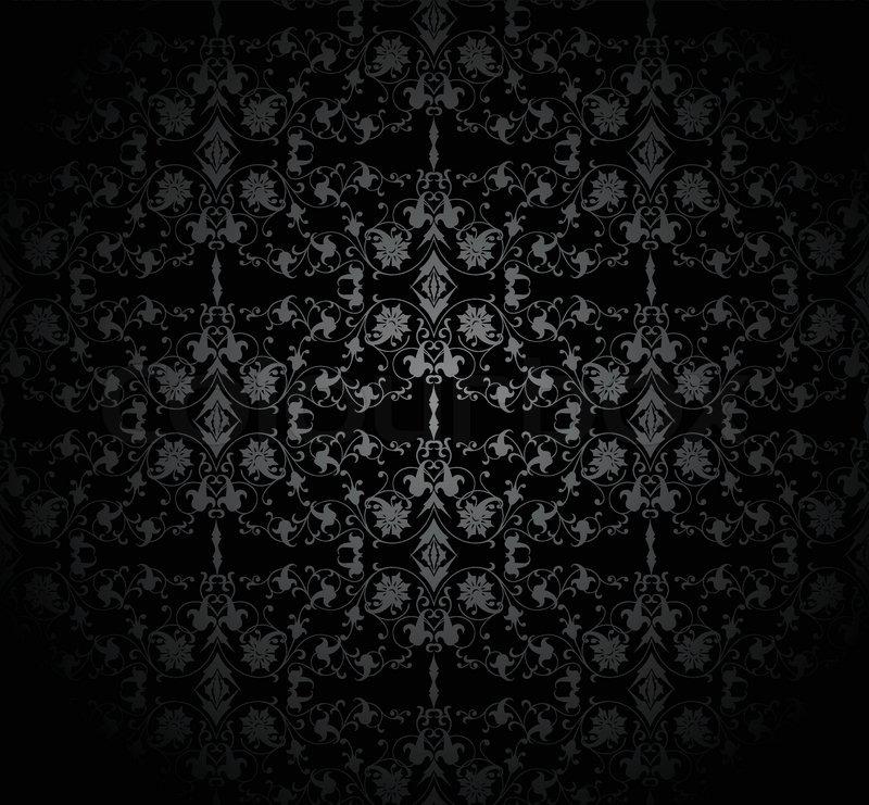 Dark seamless damask pattern Vector illustration Stock Vector