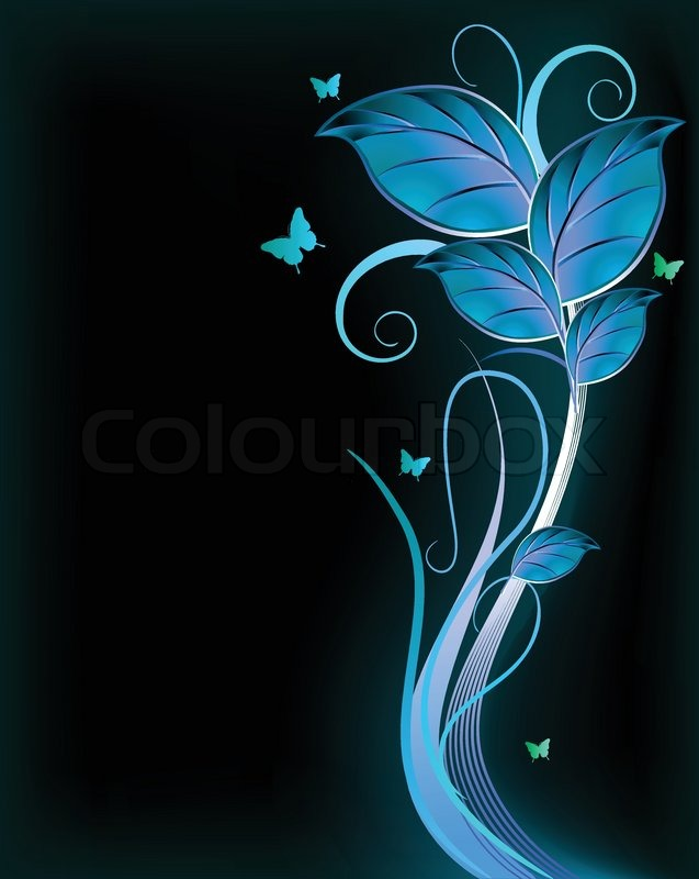 Blue floral on black background Vector Stock Vector Colourbox
