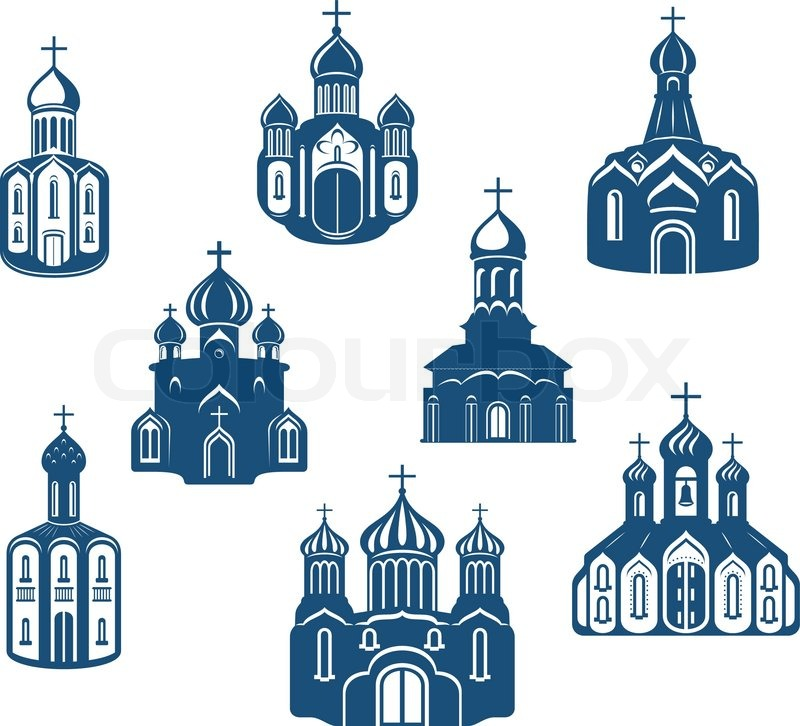 Religious churches and temples Stock Vector Colourbox