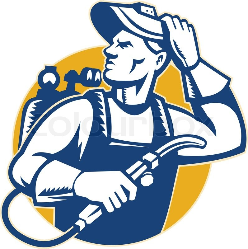 Illustration of a welder fabricator holding welding equipment - welder fabricator