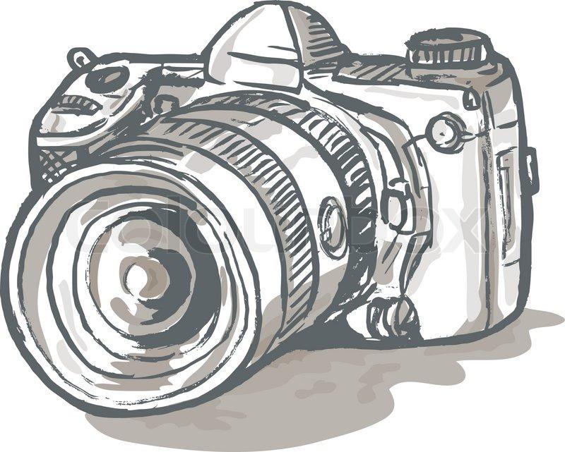 Dslr Camera Drawing Stock Vector Colourbox