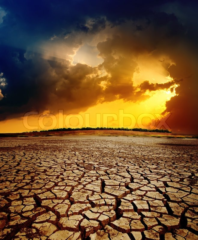 Heat Wallpaper Hd Dramatic Sunset Over Dry Cracked Earth Stock Photo