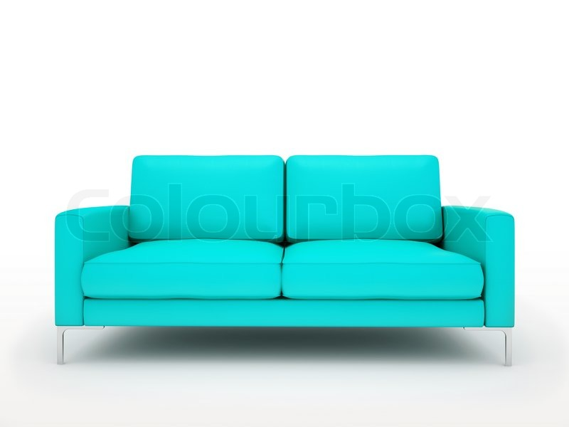Grünes Schlafsofa Modern Turquoise Sofa Isolated On White Background | Stock