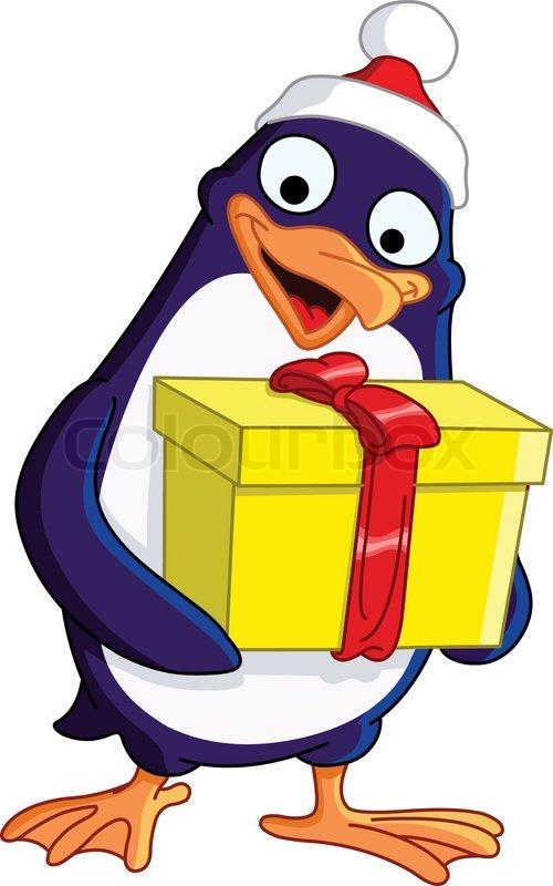 Cute Penguin Wallpaper Cartoon Cute Christmas Penguin Holding A Gift Box Stock Vector