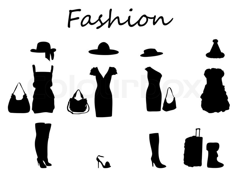 Beautiful fashion dress black  white Vector Illustration Stock