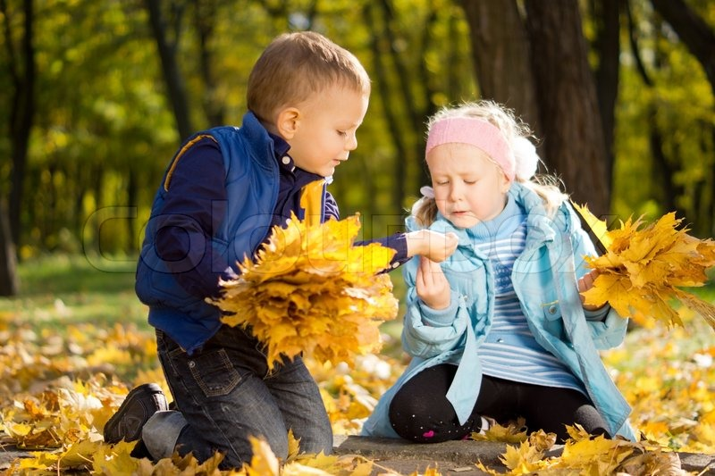 Fresh New Fall Hd Wallpapers Young Children Gathering Leaves In Autumn Splendor Stock