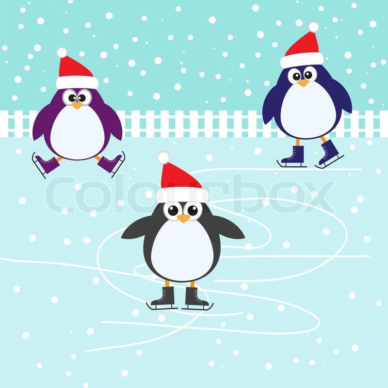 Cute Penguin Wallpaper Cartoon Ice Skating Cute Penguins Stock Vector Colourbox