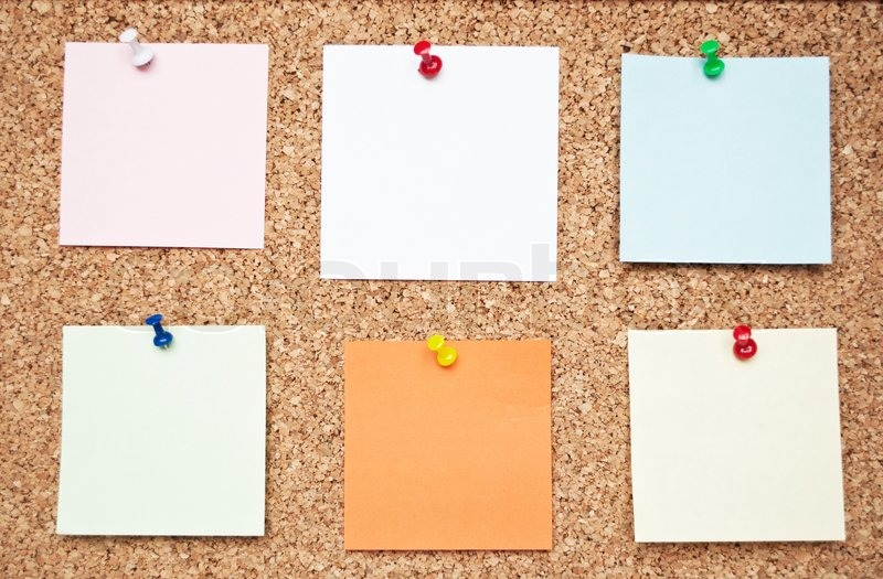 Blank memo notes on cork board Stock Photo Colourbox - board memo templates