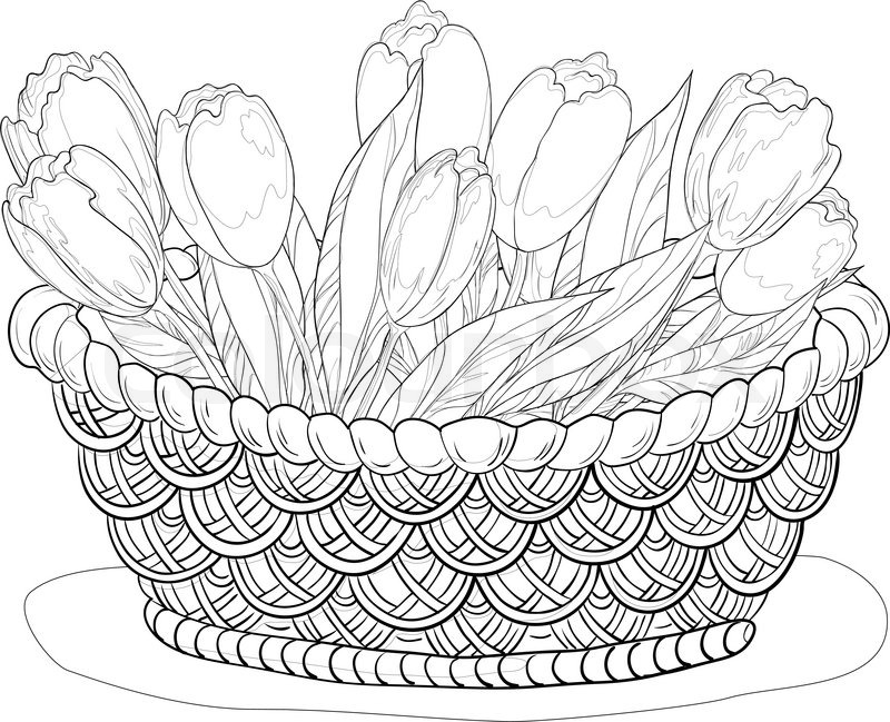 Basket With Flowers Contours Stock Vector Colourbox