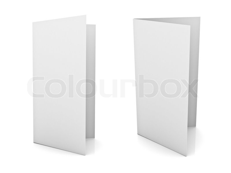 Blank brochure or flyer isolated over white background Stock Photo - blank brochure