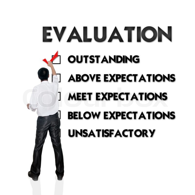 Employee evaluation form with business man selecting the choice