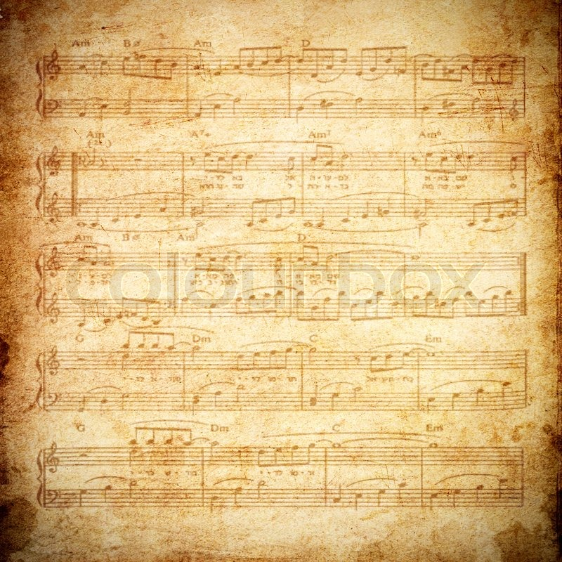 Music note on old paper Stock Photo Colourbox