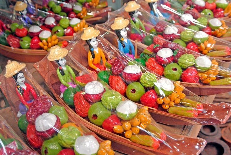 Souvenir In Floating Market Thailand Stock Photo