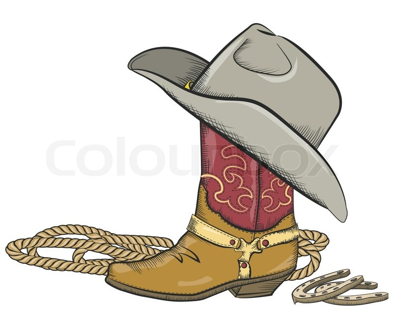 Cowboy Boot With Western Hat Isolated On White Stock