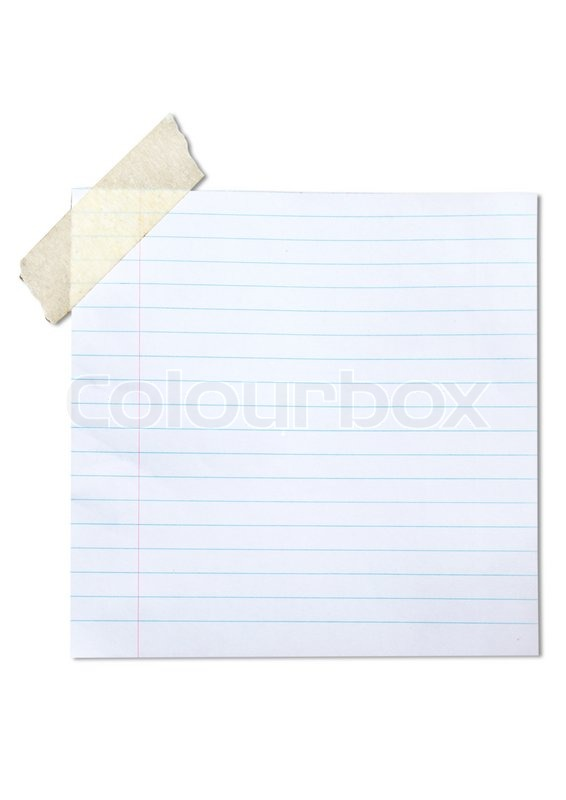 Lined blank paper stuck with brown tape Stock Photo Colourbox