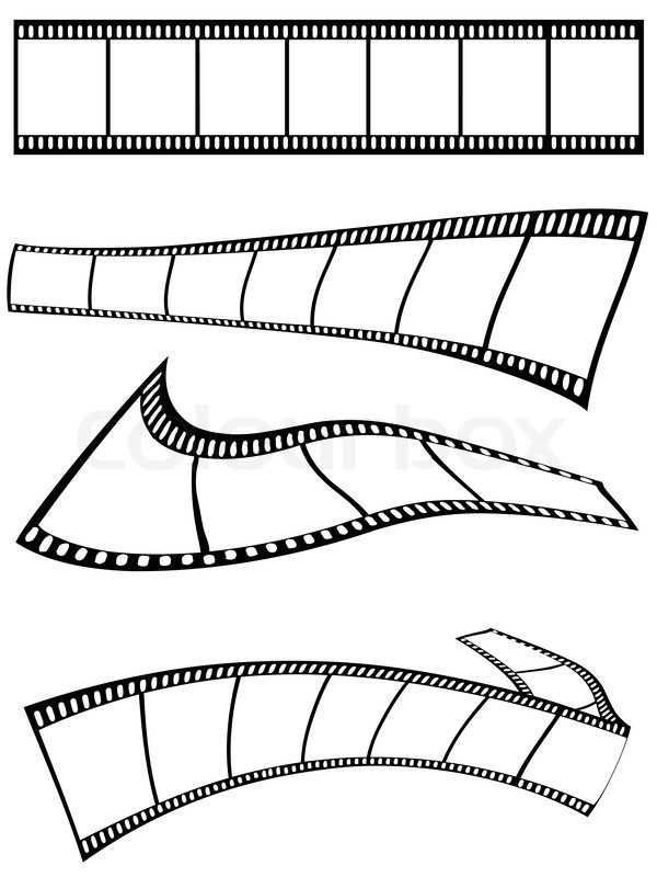 Isolated film strips design on white background Stock Vector
