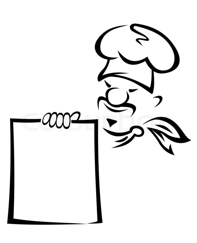 Asian chef with blank menu Stock Photo Colourbox