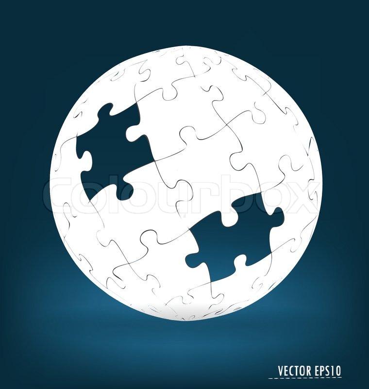 Puzzle globe Vector illustration Stock Vector Colourbox