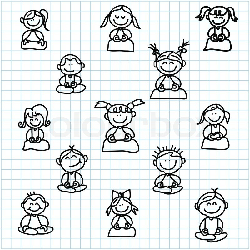 Hand drawing cartoon happy people meditation on graph paper