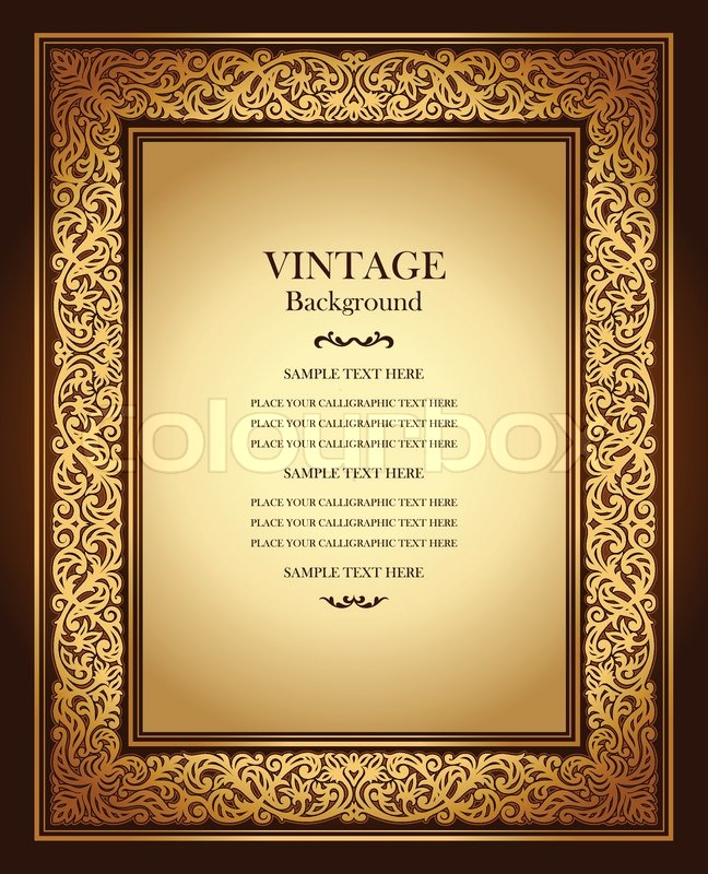 Vintage background, antique ornamental frame, victorian gold - Award Paper Template
