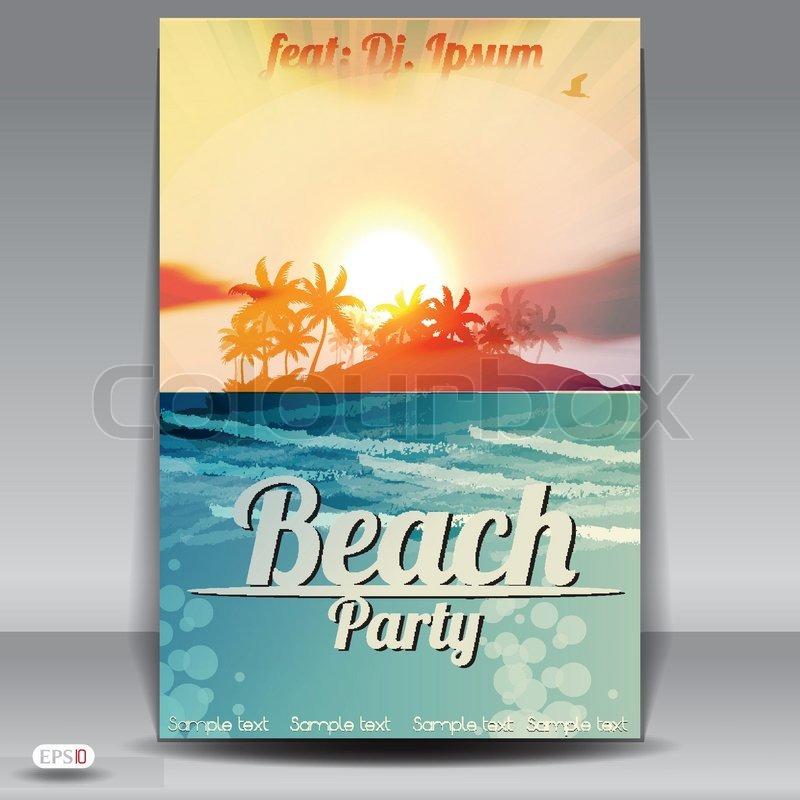 Beach Party flyer design template Stock Vector Colourbox