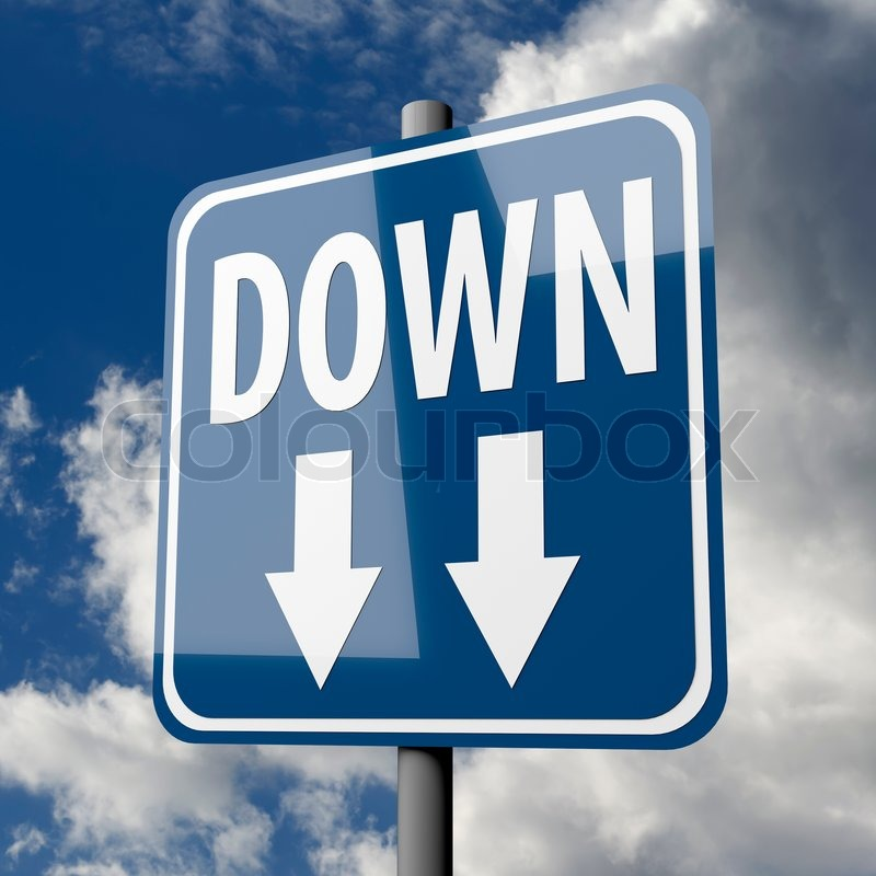 Road sign blue with word Down Stock Photo Colourbox