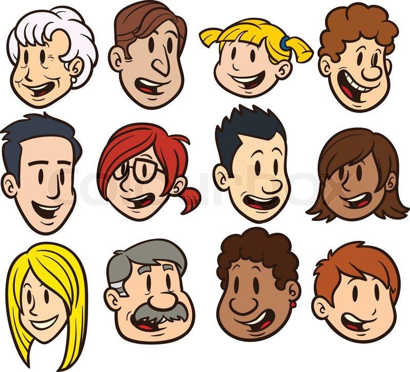 Cute cartoon faces Clip art vector Stock Vector Colourbox