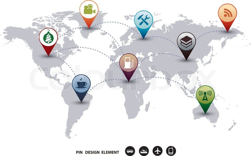 Modern vector Design world mapping pins icon Set of Map Markers