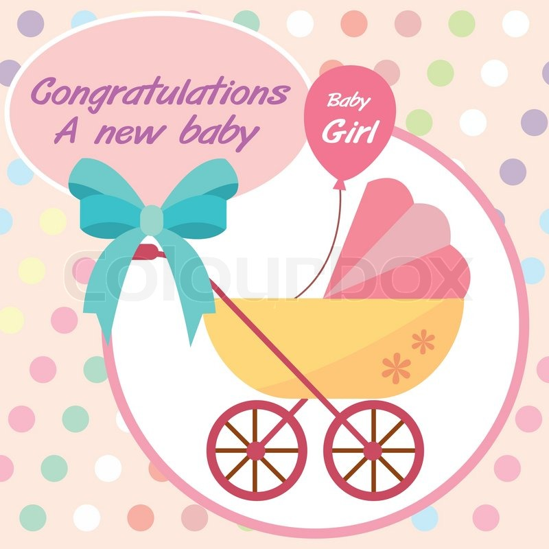 Vector card new born baby girl Stock Vector Colourbox - Birth Of Baby Girl