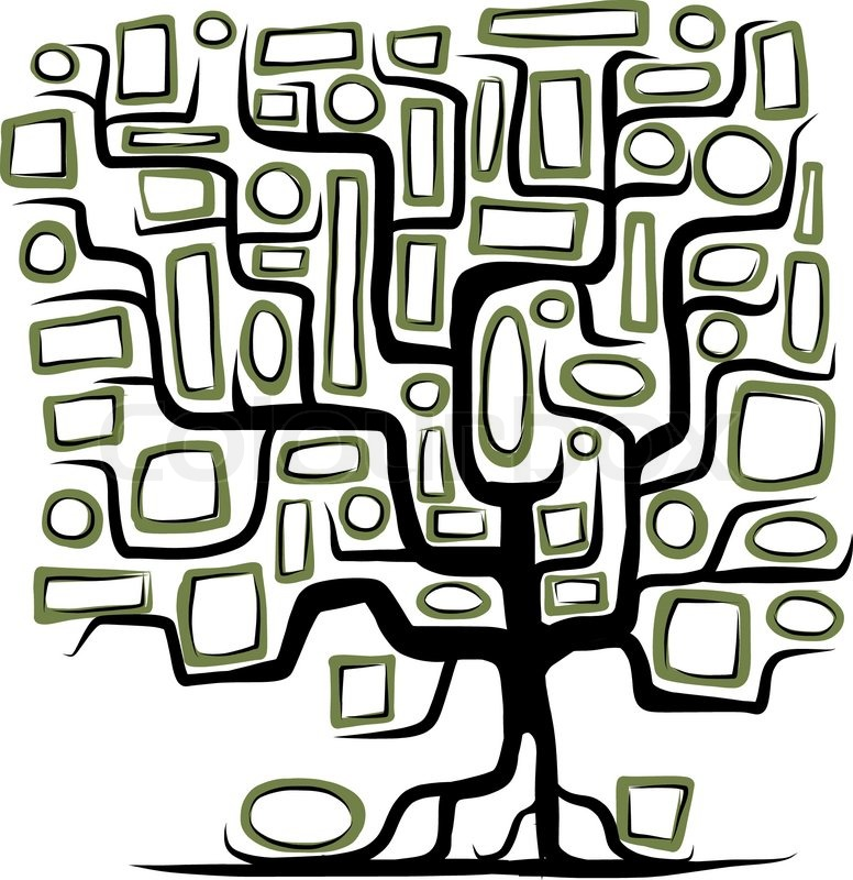 Family tree concept with empty frames Stock Vector Colourbox