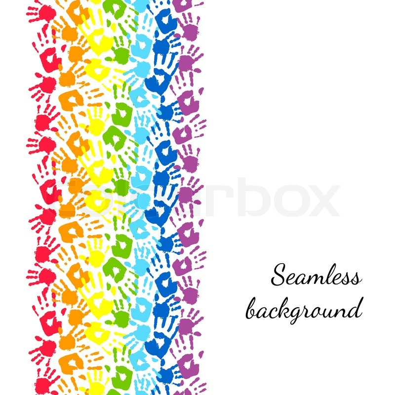 Color hands, rainbow seamless border background, vector Stock - rainbow page border