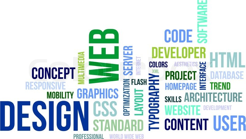 A word cloud of web design related items Stock Vector Colourbox